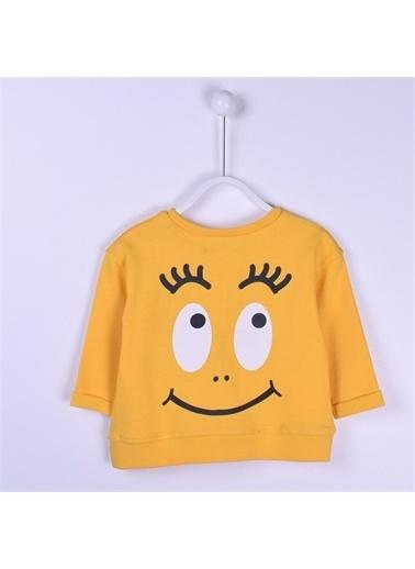 Silversun Kids Baskılı Yanlar Yırtmaçlı Uzun Kol Bebek Kız Tişört Js 113169 Sarı